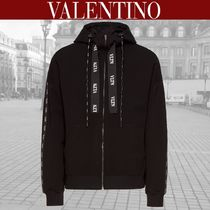 VALENTINO VLTN Blended Fabrics Long Sleeves Oversized Logos on the Sleeves
