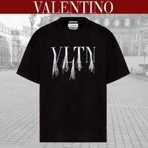 VALENTINO VLTN Crew Neck Street Style Cotton Short Sleeves Fringes