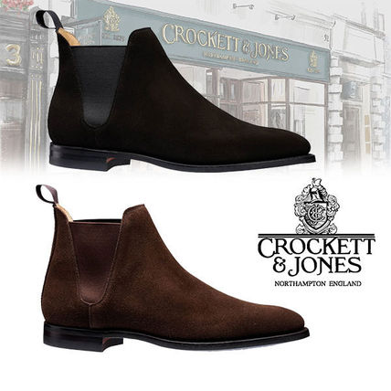 Suede Blended Fabrics Plain Leather U Tips Chelsea Boots