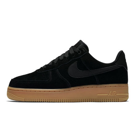 Nike AIR FORCE 1 Platform Round Toe Casual Style Street Style Plain Leather