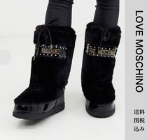 Love Moschino Heart Round Toe Rubber Sole Casual Style Faux Fur