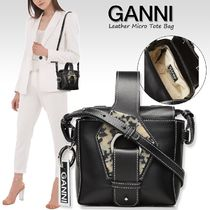 Ganni Casual Style Calfskin 2WAY Plain Leather Elegant Style
