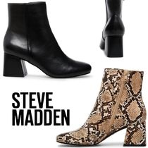 Steve Madden Casual Style Plain Leather Block Heels Python