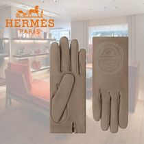 HERMES Silk Plain Leather Logo Leather & Faux Leather Gloves