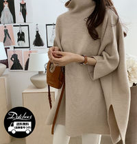 Casual Style Wool Cashmere Nylon Dolman Sleeves High-Neck