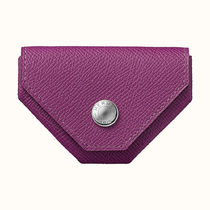 HERMES Plain Leather Small Wallet Coin Cases