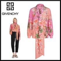 GIVENCHY Flower Patterns Casual Style Silk Puffed Sleeves