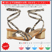 CHINESE LAUNDRY Open Toe Casual Style Python Chunky Heels Heeled Sandals