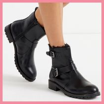 Lipsy Round Toe Casual Style Faux Fur Plain Chunky Heels