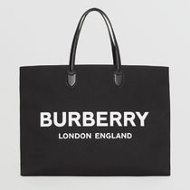 Burberry Canvas A4 Plain Logo Totes