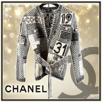 CHANEL Cashmere Long Sleeves Medium Elegant Style Cashmere