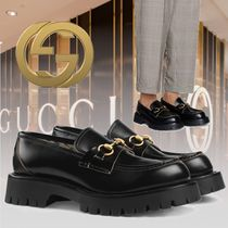 GUCCI Flower Patterns Loafers Plain Leather U Tips