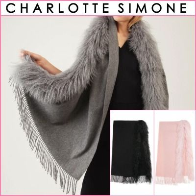 Wool Blended Fabrics Street Style Plain Fringes