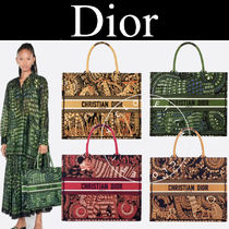 Christian Dior BOOK TOTE Casual Style Canvas Street Style A4 2WAY