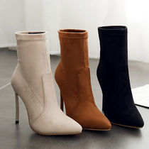 Casual Style Plain Pin Heels High Heel Boots