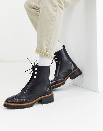 Plain Toe Lace-up Casual Style Studded Plain Leather