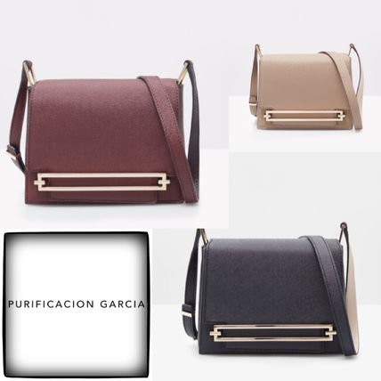 Plain Leather Elegant Style Formal Style  Shoulder Bags
