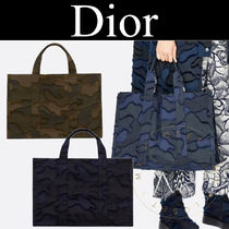 Christian Dior Camouflage Monogram Casual Style Canvas Street Style A4 2WAY