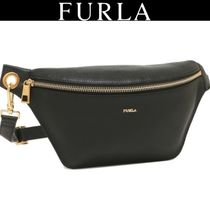 FURLA Casual Style Plain Leather Hip Packs