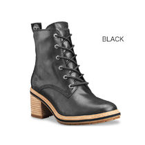 Timberland Plain Toe Lace-up Casual Style Plain Leather Block Heels