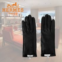 HERMES Silk Plain Leather Leather & Faux Leather Gloves
