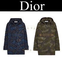 Christian Dior Camouflage Casual Style Blended Fabrics Street Style Long