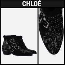 Chloe Cowboy Boots Plain Toe Casual Style Studded Leather