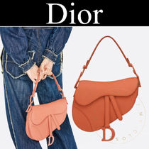Christian Dior Casual Style Calfskin Street Style 2WAY Plain Leather