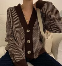 Cable Knit Casual Style Blended Fabrics Bi-color