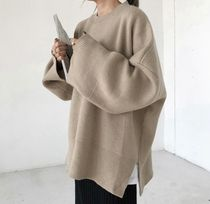 Cable Knit Casual Style Blended Fabrics Street Style U-Neck