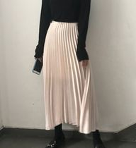 Flared Skirts Casual Style Maxi Blended Fabrics