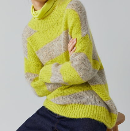 Casual Style Wool Rib Long Sleeves Long Party Style