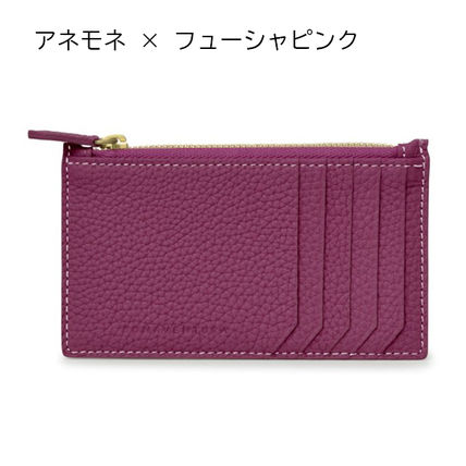 Plain Leather Long Wallet  Small Wallet Logo Folding Wallets