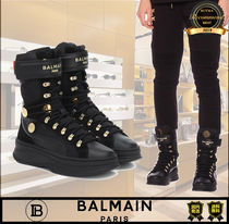 BALMAIN Unisex Street Style Collaboration Plain Low-Top Sneakers