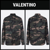 VALENTINO Button-down Camouflage Long Sleeves Cotton Shirts