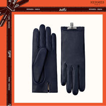 HERMES Blended Fabrics Plain Leather Leather & Faux Leather Gloves