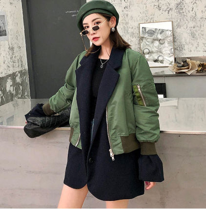 Stand Collar Coats Casual Style Wool Blended Fabrics