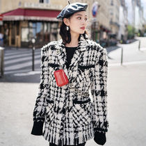 Stand Collar Coats Gingham Glen Patterns Tartan