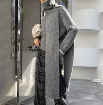 Cable Knit Stripes Casual Style Wool Rib Bi-color