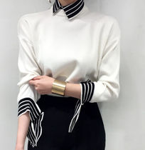 Cable Knit Stripes Casual Style Blended Fabrics Bi-color