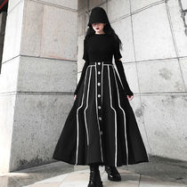 Flared Skirts Casual Style Maxi Street Style Bi-color Plain