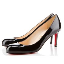 Christian Louboutin Round Toe Plain Leather Pin Heels Party Style Office Style