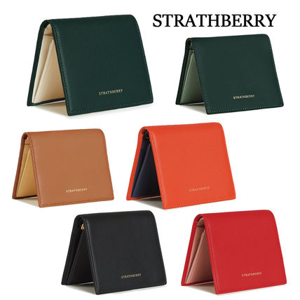 Unisex Bi-color Plain Leather Folding Wallet Logo