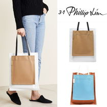 3.1 Phillip Lim Casual Style Unisex A4 2WAY Plain Leather Totes