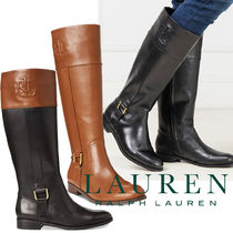 Ralph Lauren Plain Toe Rubber Sole Plain Leather Elegant Style Flat Boots
