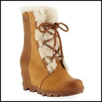 SOREL Casual Style Suede Plain Office Style Mid Heel Boots
