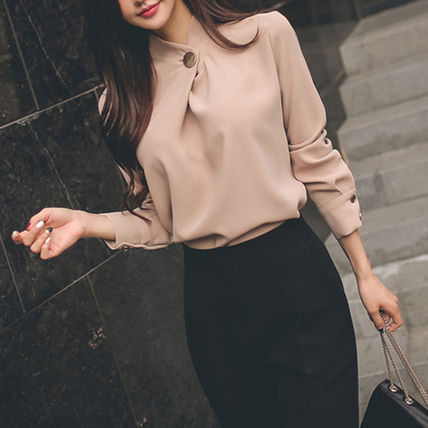 Shirts & Blouses Casual Style Long Sleeves Plain Medium Office Style