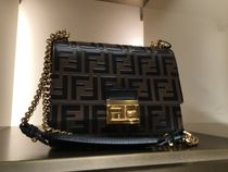 FENDI PEEKABOO Calfskin Chain Leather Party Style Elegant Style