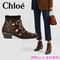Chloe Casual Style Suede Studded Ankle & Booties Boots
