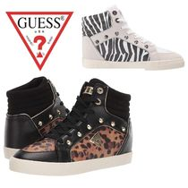 Guess Zebra Patterns Leopard Patterns Lace-up Casual Style
